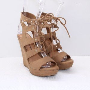 Chinese Laundry Faux Leather Strap Wedge Heel 7.5